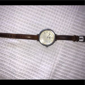 Women's fossil watch with leather band